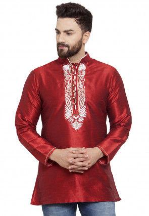 Embroidered Dupion Silk Short Kurta in Maroon