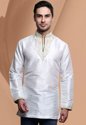 Embroidered Dupion Silk Short Kurta in Off White