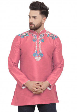 Embroidered Dupion Silk Short Kurta in Pink