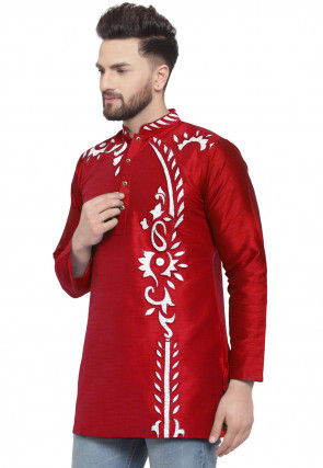 Embroidered Dupion Silk Short Kurta in Red