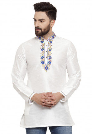 Embroidered Dupion Silk Short Kurta in White