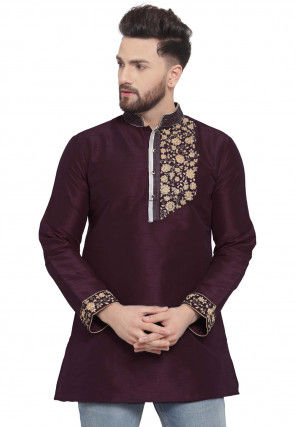 Embroidered Dupion Silk Short Kurta in Wine