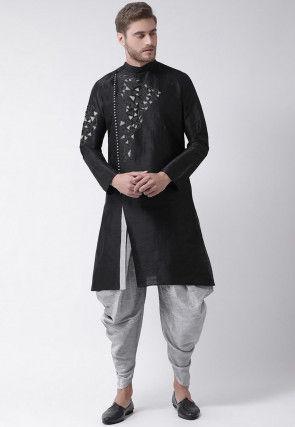 Embroidered Dupion Silk Side Slit Dhoti Kurta in Black