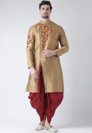 Embroidered Dupion Silk Side Slit Dhoti Kurta in Dark Beige