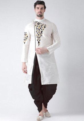 Embroidered Dupion Silk Side Slit Dhoti Kurta in White