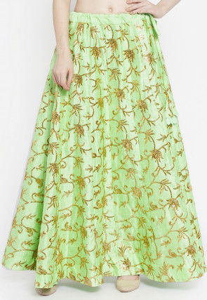 Embroidered Dupion Silk Skirt in Light Green