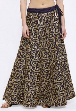Embroidered Dupion Silk Skirt in Navy Blue