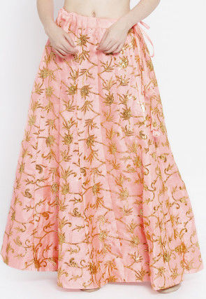 Embroidered Dupion Silk Skirt in Pink