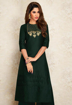 Embroidered Dupion Silk Straight Kurta in Dark Green
