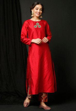 Embroidered Dupion Silk Straight Kurta in Red