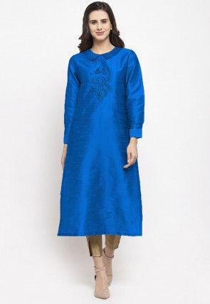 Embroidered Dupion Silk Straight Kurta in Royal Blue