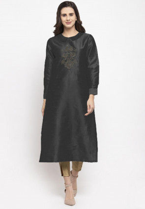 Embroidered Dupion Silk Straight Kurta Set in Black