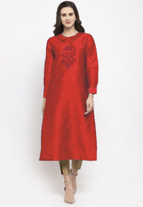 Embroidered Dupion Silk Straight Kurta Set in Red