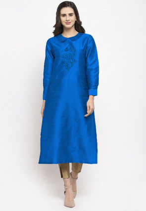 Embroidered Dupion Silk Straight Kurta Set in Royal Blue