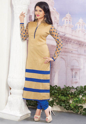 Embroidered Dupion Silk Straight Suit in Beige