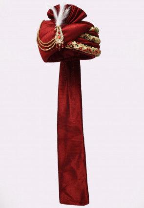 Embroidered Dupion Silk Turban in Maroon