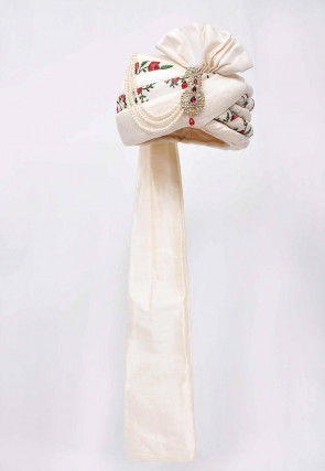 Embroidered Dupion Silk Turban in Off White