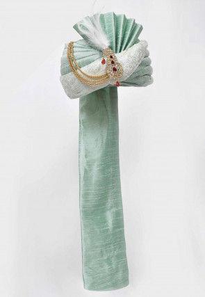 Embroidered Dupion Silk Turban in Pastel Green