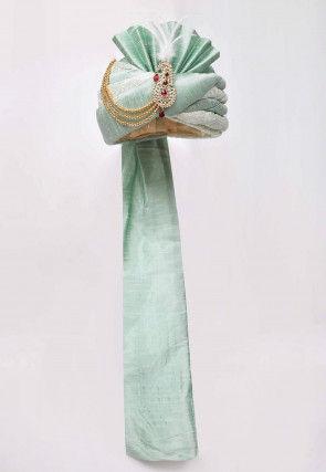 Embroidered Dupion Silk Turban in Sea Green