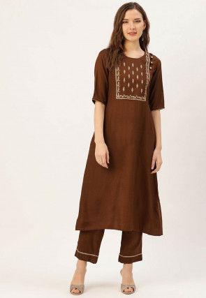 Embroidered Crepe Kurta with Pant in Brown