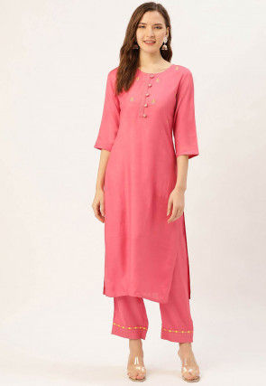 Embroidered Crepe Kurta with Pant in Pink