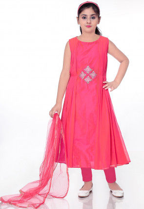 Embroidered Faux Georgette A Line Suit in Pink