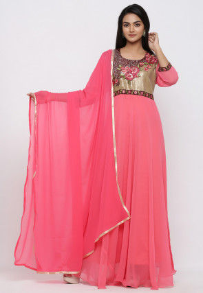 Embroidered Faux Georgette Abaya Style Suit in Coral Pink