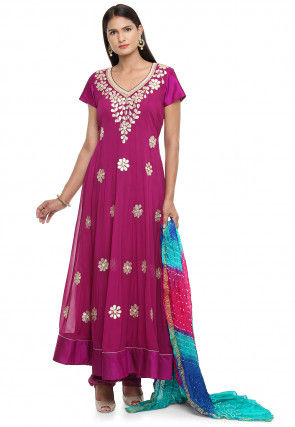 Embroidered Faux Georgette Anarkali Suit in Magenta