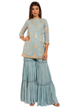 Embroidered Faux Georgette Kurti Set in Light Dusty Blue