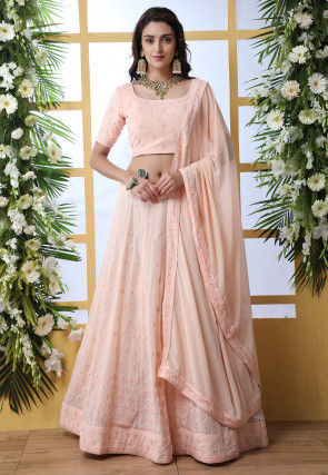 Embroidered Faux Georgette Lehenga in Baby Pink