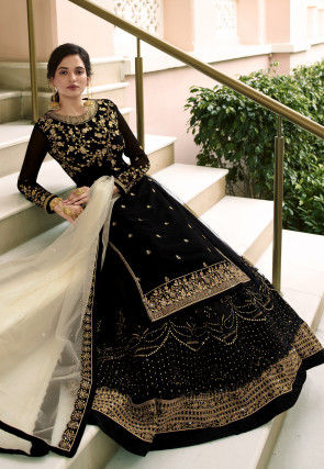 Embroidered Faux Georgette Lehenga in Black