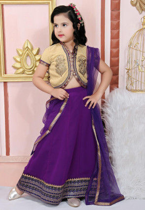 Embroidered Faux Georgette Lehenga in Purple
