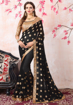 Embroidered Georgette Saree in Black