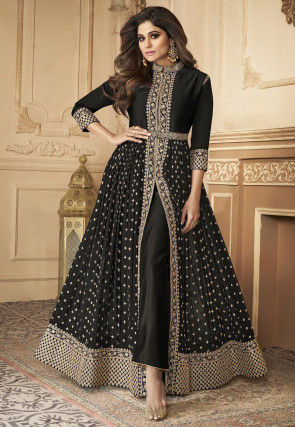 Embroidered Front Slit Georgette Abaya Style Suit in Black