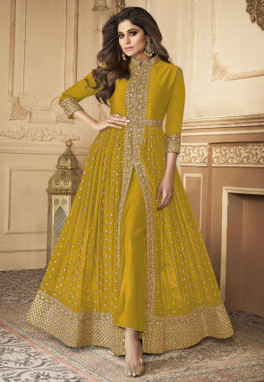 Embroidered Front Slit Georgette Abaya Style Suit in Mustard