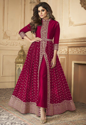 Embroidered Front Slit Georgette Abaya Style Suit in Red