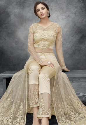 Embroidered Front Slit Net Abaya Style Suit in Light Beige