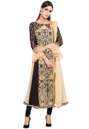 Embroidered Georgette A Line in Beige and Black
