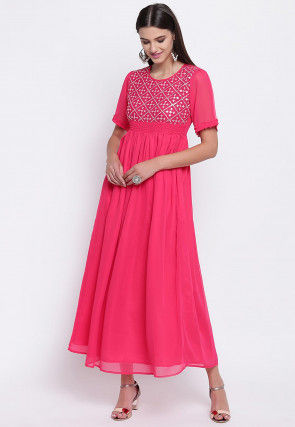 Embroidered Georgette A Line Kurta in Pink