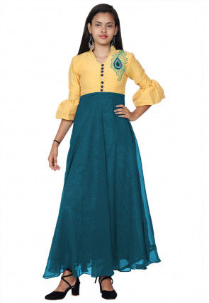 Embroidered Georgette Abaya Style Kurta in Teal Blue and Yellow