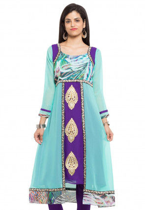 Embroidered Georgette A Line Kurta in Light Blue