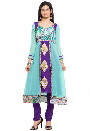 Embroidered Georgette A Line Kurta Set in Light Blue