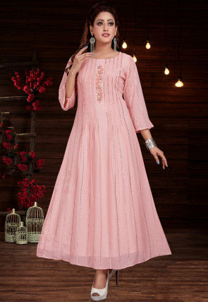 Embroidered Georgette A Line Long Kurta in Light Pink