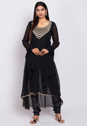 Embroidered Georgette A Line Suit in Black