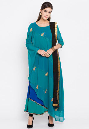 Embroidered Georgette A Line Suit in Teal Green
