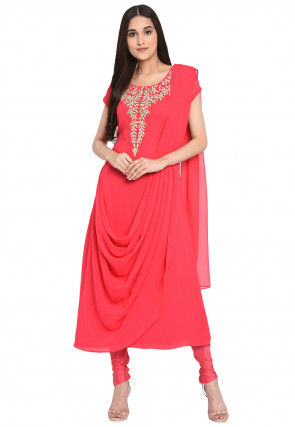 Embroidered Georgette A Line Suit in Coral Pink