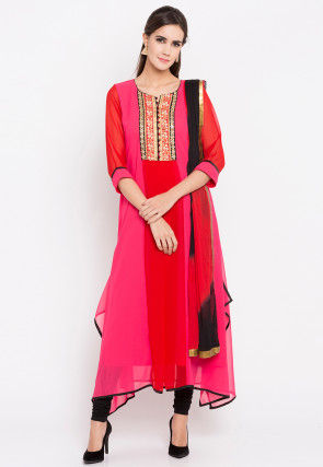Embroidered Georgette A Line Suit in Fuchsia