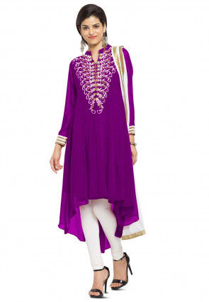 Embroidered Georgette A Line Suit in Magenta