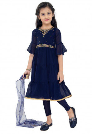 Embroidered Georgette A Line Suit in Navy Blue