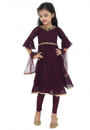 Embroidered Georgette A Line Suit in Wine